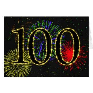 100th Geburtstagskarte mit Feuerwerken Karte