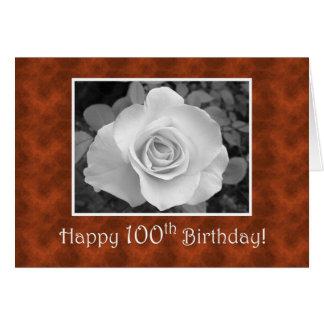 100th Weiße Rose und Schildpatt des Geburtstages Karte