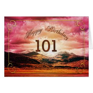 101 Geburtstag, Sonnenuntergang über den Bergen Karte