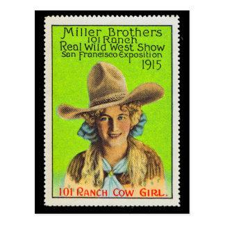101 Ranch-Cowgirl-Plakat-Briefmarke #2, Panama Postkarte
