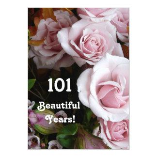101st Geburtstags-Partei-Rosa-Rosen-Blumenstrauß 12,7 X 17,8 Cm Einladungskarte