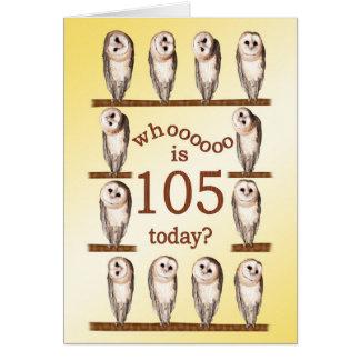 105. Geburtstag, neugierige Eulenkarte Karte