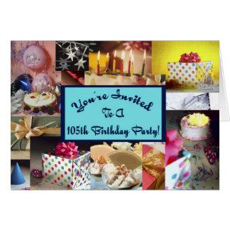 105th Geburtstags-Party Invitiation Karte