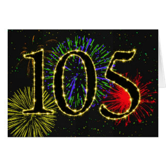 105th Geburtstagskarte mit Feuerwerken Karte