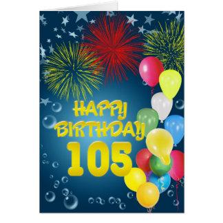 105th Geburtstagskarte mit Feuerwerken und Karte