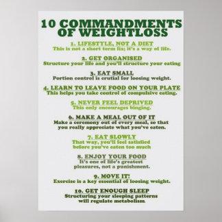 10 Gebote des Gewichts-Verlustes - Infographic Poster