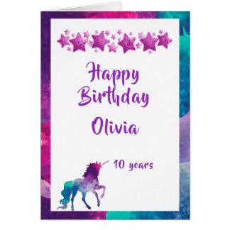 10. Geburtstag der girly rosa lila Sterne des Karte