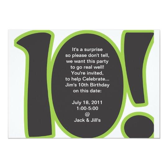 10. geburtstag laden ein 12,7 x 17,8 cm einladungskarte | zazzle, Einladung
