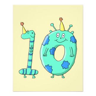 10. Geburtstags-Cartoon, aquamarines Grünes und Bl 11,4 X 14,2 Cm Flyer