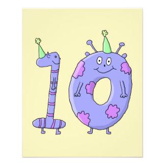 10. Geburtstags-Party-Cartoon-Geschöpfe Flyerdesign