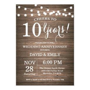 Einladung 10 Hochzeitstag | 10 Hochzeitstag Einladungen Zazzle De