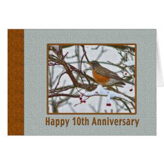 10. Jahrestags-Karte mit Robin im Schnee Karte