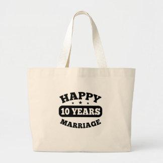 10-jährige glückliche Heirat Jumbo Stoffbeutel