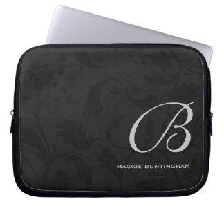 10 mit Monogramm schwarze Damast-Gewohnheit Laptop Sleeve Schutzhülle
