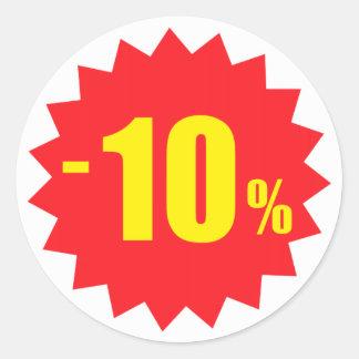 10-Prozent-Verkaufsrabattaufkleber, -WEISS und Runder Aufkleber