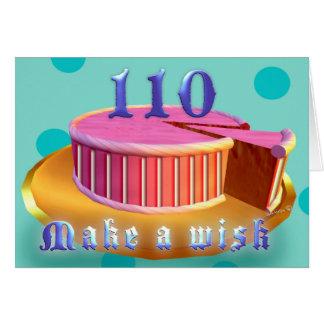 110 Geburtstags-Gruß-Karten-Rosa-Kuchenstreifen Karte