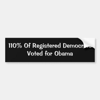 110% von registriertem DemocratsVoted für Obama Autoaufkleber