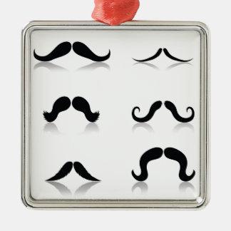 116Set von Mustaches_rasterized Silbernes Ornament