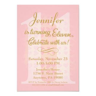 11. Geburtstags-Einladungs-Mädchen-rosa Goldherzen Karte