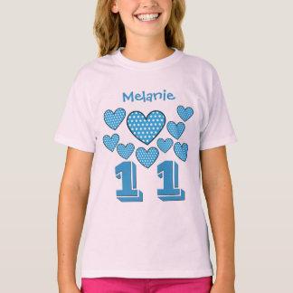 11 Geburtstags-Mädchen-Herz-großer T-Shirt