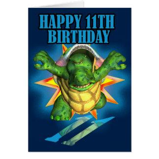 11. Geburtstags-Schildkröte-Karte, glücklicher 11. Karte