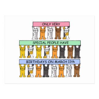 11. März Spaßgeburtstagskatzen Postkarte