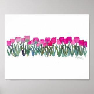 """11"""""""" rosa Tulpe-Plakat des Aquarell-x8.5 (Matt) Poster"""