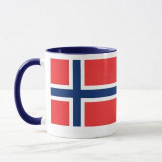 11ox weiße/blaue Wecker-Tasse Norwegen u. Flagge Tasse