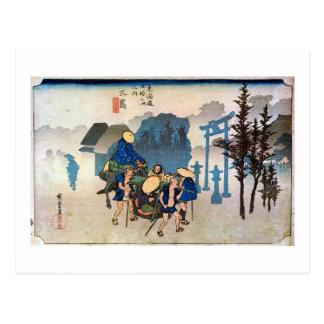 12. 三島宿, 広重 Mishima-juku, Hiroshige, Ukiyo-e Postkarte