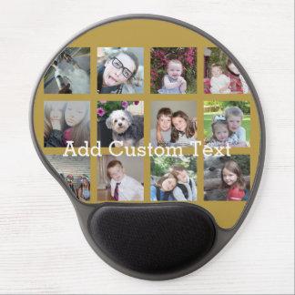 12 Foto-Collage mit Goldhintergrund Gel Mouse Pads