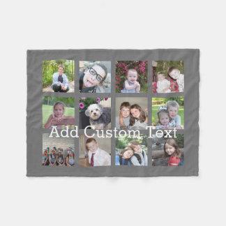 12 Foto-Collage mit Holzkohlen-Grau-Hintergrund Fleecedecke
