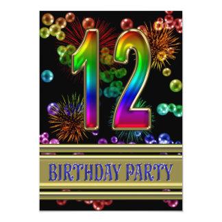 12. Geburtstags-Party Einladung mit Blasen