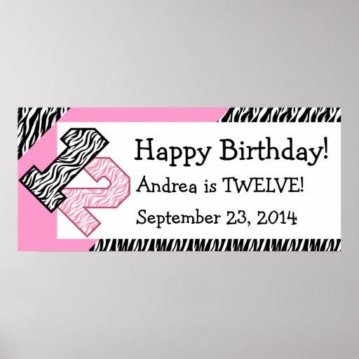 12. GeburtstagZebra mit rosa individuellem Namen Plakat