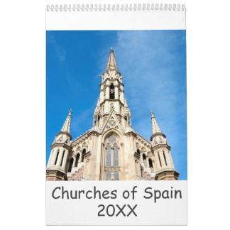 12-monatige Kirchen von Spanien Wandkalender