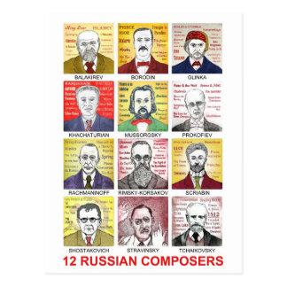 12 russische Komponisten Postkarte