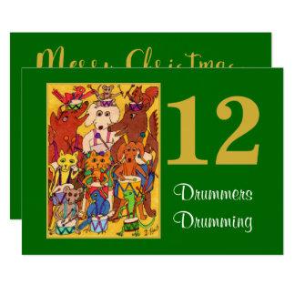 12 Schlagzeuger, welche die süßen Tiere Karte