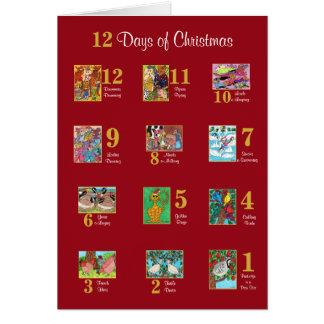 12 Tage der WeihnachtsTier-Typografie-Gewohnheit Karte