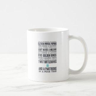 12 Tage des blauen Weihnachtsgeschenks des Kaffeetasse