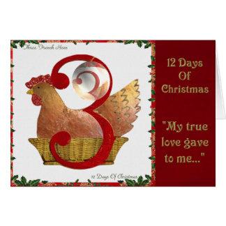 12 Tage Weihnachten drei französische Hennen Karte