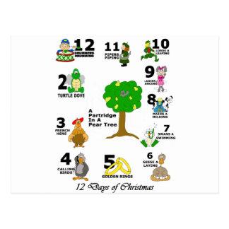 12 Tage Weihnachten Postkarte
