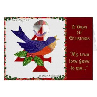 12 Tage Weihnachten vier nennende Vögel Karte