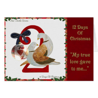 12 Tage Weihnachten zwei Schildkröte-Tauben Karte