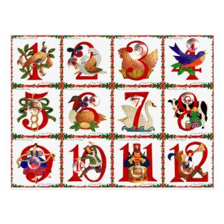 12 Tage Weihnachtssteppdecken-Druck-Geschenke Postkarte