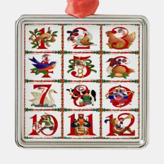12 Tage Weihnachtssteppdecken-Druck-Geschenke Silbernes Ornament