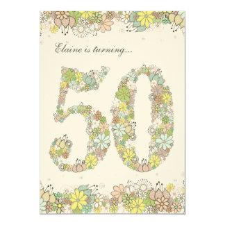 12x18 50. Geburtstags-Party-natürliche 12,7 X 17,8 Cm Einladungskarte