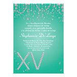 12x18 Aqua-Diamant Quinceanera Geburtstags-Einladu