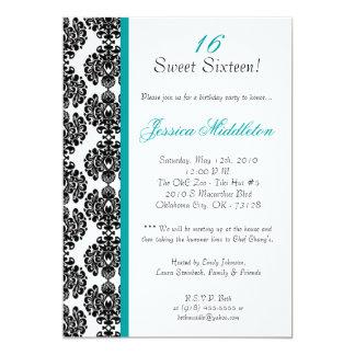 12x18 aquamarine Damast-Spitze-Geburtstags-Party Personalisierte Einladungskarten