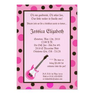 12x18 Mädchen-Rocker-Gitarren-Geburtstags-Party 12,7 X 17,8 Cm Einladungskarte