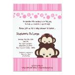 12x18 Mädchen-Rosa-Pop-Affe-Baby-Duschen-Einladung