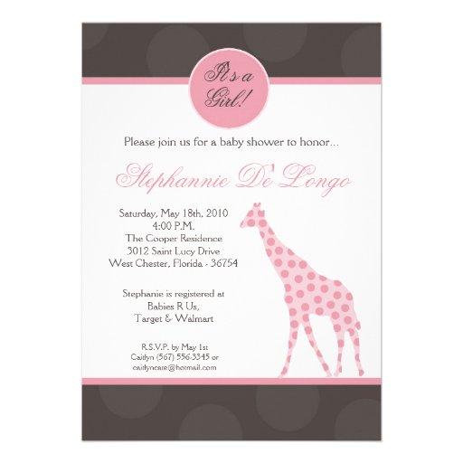 12x18 rosa Polka-Punkt-Giraffen-Baby-Duschen-Einla